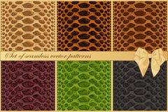 Stellen Sie von den Schlangen- und Reptilhautvektormustern ein Sechs Modebeschaffenheiten vektor abbildung