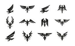 Stellen Sie von den schwarzen heraldischen Adlersymbolen auf weißem Hintergrund ein lizenzfreie abbildung