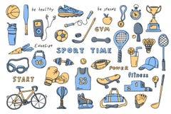 Stellen Sie von den Sportelementen mit Beschriftung ein Nette gezeichnete Vektorillustration des Gekritzels Hand lizenzfreie abbildung