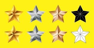 Stellen Sie von den Sternen formen Sammlung, Gold, Silber, die Bronze ein, Schwarzweiss stock abbildung