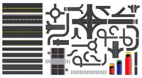 Stellen Sie von den Straßenteilen mit ausgestrichener Linie, Straßenrandmarkierung, Schnittkreuzung und Zebrastreifen ein vektor abbildung