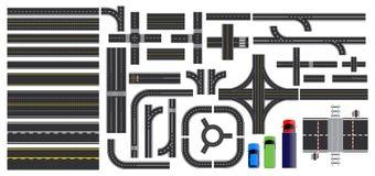 Stellen Sie von den Straßenteilen mit ausgestrichener Linie, Straßenrandmarkierung, Schnittkreuzung und Zebrastreifen ein lizenzfreie abbildung