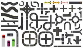 Stellen Sie von den Straßenteilen mit ausgestrichener Linie, Straßenrandmarkierung, Schnittkreuzung und Zebrastreifen ein stock abbildung