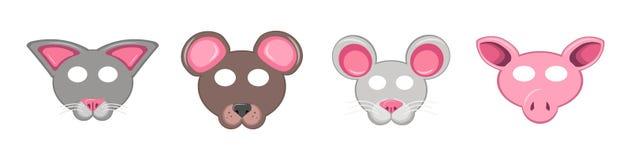 Stellen Sie von den Tiermasken für den Feiertag ein Sammlung von Gesichtsbären, -mäusen, -schwein und -katze lizenzfreie stockfotografie