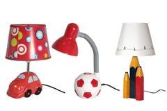 Stellen Sie von den Tischlampen des Kindes ein, die auf weißem Hintergrund lokalisiert werden lizenzfreie stockbilder