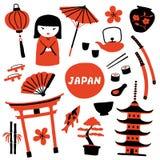 Stellen Sie von den traditionellen japanischen Symbolen ein Reise nach Japan Lustige Gekritzelhandgezogene Illustration vektor abbildung