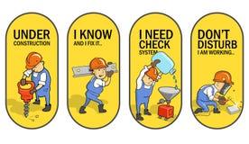 Stellen Sie von den Vektor-Aufklebern ein: Lustige Karikatur-Arbeitskräfte Aufkleber-Design stockfoto