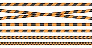 Stellen Sie von den verschiedenen Absperrbänden schwarz und orange ein stock abbildung