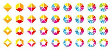 Stellen Sie von den verschiedenen bunten winkligen Kreisdiagrammen ein lizenzfreie abbildung