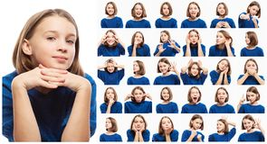 Stellen Sie von den verschiedenen emotionalen Bildern des jugendlich Mädchens, Nahaufnahme ein stockbilder