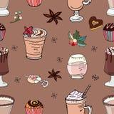 Stellen Sie von den verschiedenen traditionellen Wintergetränken ein Schablone für Jahreszeit und Weihnachtsentwurf, Grußkarten,  stock abbildung