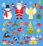 Stellen Sie von den Weihnachtscharakteren und Elementikonen, Sankt und Schneemann und Rotwild in der flachen Art der Karikatur ei stock abbildung