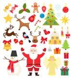Stellen Sie von den Weihnachtselementikonen, -Schneemann, -geschenken, -schneeflocken, -süßigkeit und -rotwild in der flachen Art vektor abbildung
