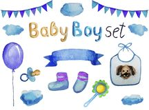 Stellen Sie von den Zusätzen und von den Einzelteilen für einen neugeborenen Jungen ein, die lokalisierte Aquarellillustration lizenzfreie abbildung