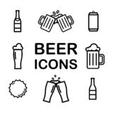 Stellen Sie von der Bier-Linie Ikonen ein Alkohol, Getränk, halbes Liter, Glas, Flasche, Dose Vektor lizenzfreie abbildung
