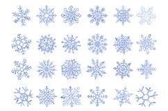 Stellen Sie von der blauen Flocke der Vektoreis-Schneeflocken der Schneesteigung ein vektor abbildung