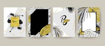 Stellen Sie von der eleganten Broschüre, Abdeckungen, Karten mit exotischen Palmblättern, goldene Beschaffenheit ein Hochzeit,  lizenzfreie abbildung