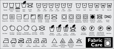 Stellen Sie von der Gewebesorgfalt oder von waschenden Symbolen oder von den Wäschereisymbolen ein stock abbildung