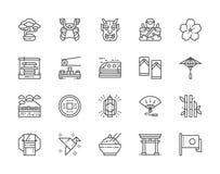 Stellen Sie von der japanischen Kultur-Linie Ikonen ein Bonsai-Baum, Katana, Sushi, Kimono und mehr lizenzfreie abbildung