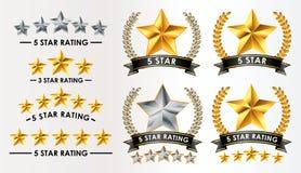 Stellen Sie von der Kundenfeedback-Fünf-Sternebewertung ein stock abbildung