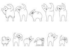 Stellen Sie von der Linie die lustigen Hunde der Kunst ein, die ihre Kolben zeigen lizenzfreie abbildung