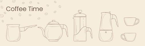 Stellen Sie von der Linie Vektor der Kaffeevorbereitung ein Cezve, Kaffeekessel, französische Presse, moka Topf und Kaffeetasse f vektor abbildung