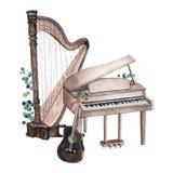 Stellen Sie von der Musikinstrumentillustration des Aquarells ein, die auf wahite Hintergrund lokalisiert wird stock abbildung