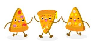 Stellen Sie von der Pizzascheibe lustig ein Fastfood Pizzadesign Vektorillustrationszeichentrickfilm-figur lokalisiert auf wei?em lizenzfreie abbildung