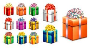 Stellen Sie von der realistischen Geschenkbox mit Band ein stock abbildung