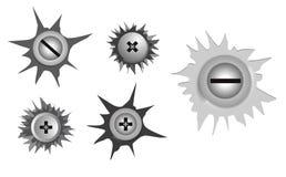 stellen Sie von der realistischen Metallschraube rostfrei, mit Sprungseffekt ein lizenzfreie abbildung