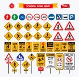 Stellen Sie von der Schulzeichenzone, vom Fußgänger und von anderer Straßenschulzone ein vektor abbildung