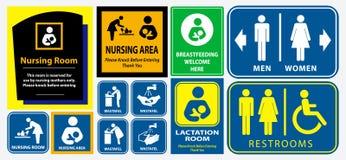 Stellen Sie von der Toilette, Stillraum, Laktierungsraum-Plakatzeichen ein vektor abbildung