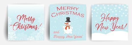 Stellen Sie von der Weihnachtsgruß-Kartenentwurfsschablone ein Weihnachtshintergrund mit Schneemann Fallender Schnee Vektor vektor abbildung