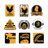 Stellen Sie von der Weinlese und von den modernen Bauernhoflogoaufklebern mit Huhn, Eiern und Kühen ein stockfotografie