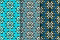 Stellen Sie von drei nahtlosen Mustern mit abstrakten Florenelementen im Retrostil ein Textilgewebe, Drucken und viele anderen Be stockfotografie