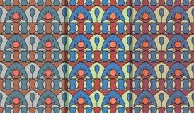 Stellen Sie von drei nahtlosen Mustern mit geometrischer Folkloreverzierung ein Ethnische Vektorbeschaffenheit in der Weinleseart stock abbildung