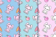 Stellen Sie von drei nahtlosen Mustern mit mit netten Kaninchen der Karikatur ein Kindischer Hintergrund Vektor kawaii Illustrati lizenzfreie abbildung