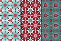 Stellen Sie von drei nahtlosen Mustern mit Sternen in einer Art ein Bunte Illustration, eps10 stock abbildung