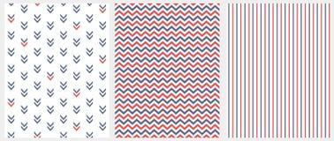 Stellen Sie von 3 geometrischen nahtlosen Vektor-Mustern ein Blaues und rotes Chevron, Streifen und abstrakte Pfeile lokalisiert  lizenzfreie abbildung