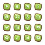 Stellen Sie von 16 grünen Geleeikonen in den Holzrahmen ein, die auf weißem Hintergrund für SpielBenutzerschnittstelle lokalisier stock abbildung