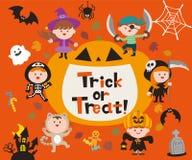 Stellen Sie von Halloween-Zeichen, vom Symbol, von den Gegenständen, von den Einzelteilen und von den netten Karikaturkindern ein stock abbildung
