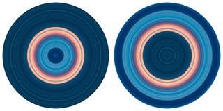 Stellen Sie von 2 hellen abstrakten bunten Kreisen ein, die auf wei?em Hintergrund lokalisiert werden Kreislinien, gestreifte rad lizenzfreie abbildung