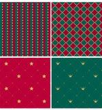 Stellen Sie von königlichen Weihnachtsmustern ein Sammlung von Rotem, grün, Golddruckbeschaffenheit lizenzfreie abbildung