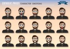 Stellen Sie von katholischer Priester Emoticons ein lizenzfreie abbildung
