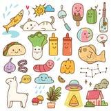 Stellen Sie von kawaii Gekritzel, von der Nahrung, vom Tier und von anderen Gegenständen ein stock abbildung