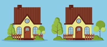 Stellen Sie von lokalisierten fabelhaften Häusern des schönen ländlichen Bauernhofes mit Dachboden, Kamin, Zäune ein stock abbildung