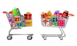 Stellen Sie von lokalisierter Einkaufslaufkatze voll der Geschenkbox ein stock abbildung