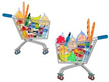 Stellen Sie von lokalisierter Einkaufslaufkatze voll der Nahrung, der Frucht, der Produkte und des Lebensmittelgeschäfts ein, die lizenzfreie stockfotografie