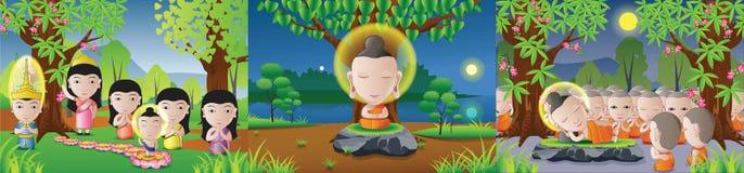 Stellen Sie von Lord von Buddha geboren ein, erleuchten Sie und tot in Karikatur versio lizenzfreie abbildung