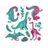 Stellen Sie von 5 nette Dinosaurierfarbhandgezogenen Vektorcharakteren ein Flaches handdrawn clipart Dino Skizzenjurareptil Ptero stock abbildung